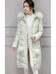 Women's Long Down Coat,Simple Casual/Daily Solid-Polyester White Duck Down Long Sleeve Green