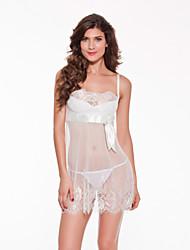 Damen Babydoll & slips Besonders sexy Anzüge Nachtwäsche,Sexy Spitze Jacquard-Dünn Spitze Weiß