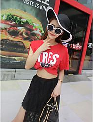 Damen Solide / Buchstabe Sexy Ausgehen T-shirt Rock Anzüge,Rundhalsausschnitt Sommer Kurzarm Rot / Weiß Baumwolle Dünn