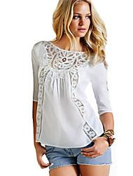 Damen Solide / Patchwork Street Schick Lässig/Alltäglich T-shirt,Rundhalsausschnitt Frühling ¾-Arm Weiß Polyester / Andere Dünn