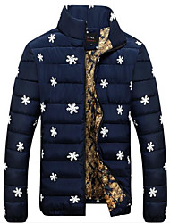 Men's Long Padded Coat,Simple Casual/Daily Floral-Special Leather Types Polypropylene Long Sleeve Blue / Red / White / Black