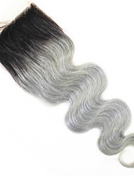 4x4 Top Closure Body Wave Ombre Virgin Human Hair Closure Medium Brown Swiss Lace Closure Hair Extensions 1b/Gray