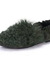 Feminino-Rasos-Conforto-Rasteiro-Preto Verde Cinza-Lã Pêlo-Casual