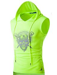Hombre Activo Casual/Diario / Deportes Verano Camiseta,Con Capucha Un Color Sin Mangas Algodón Blanco / Negro / Gris / Verde Fino