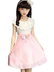 Vestido Chica de-Noche-Un Color-Algodón / Poliéster-Verano-Verde / Rosa