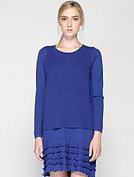 Mujer Largo Pullover Casual/Diario Simple,Un Color Azul Escote Redondo Manga Larga Lana Otoño Medio Microelástico