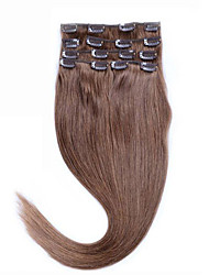8a sexy 14-26 cheveux naturels clip extentions 100% cheveux clip # 10 moyen d'or brun cheveux raides humain fabuleux