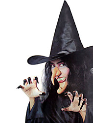 1PC Halloween Party Decor Gift Novelty Terrorist Ornaments Cos Witch Hat False Nails Chin Nose Combination Witch