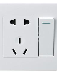 um aberto de cinco buraco duplo controlo 1 em 5 furo com painel pc tomada interruptor 86 Tipo de interruptor de parede escondido / pacote