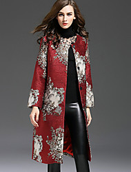 Women's Casual/Daily Chinoiserie Trench CoatEmbroidered Round Neck Long Sleeve Fall / Winter Red Polyester Medium