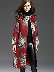 Dámské Výšivka Běžné/Denní / Velké velikosti Čínské vzory Trenčkot-Polyester Podzim / Zima Kulatý Dlouhý rukáv Červená Střední