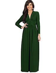 Women's Plus Size / Casual/Daily Simple / Street chic Ruched Slim Sheath DressSolid V Neck Maxi Long Sleeve