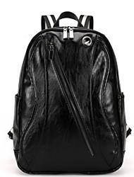 Men Cowhide Formal / Sports / Casual / Outdoor Backpack Black