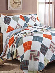 Plaid Quilts Material King 2pcs Shams / 1pc Quilt