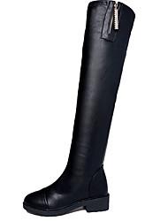 Women's Boots Winter Platform Cowhide Casual Flat Heel Split Joint Black Walking