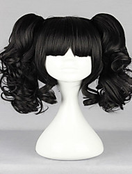 New Popular Harajuku Lovely Black Curly Ponytails With Full Bangs Fashion Synthetic Girl's Party Cosplay Wig