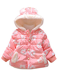 Girl's Cotton Winter Fashion Casual/Daily Cartoon Floral Print Thicken Keep Warm Hoodie Cotton-Padded Coat