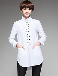 Sign Europe station 2016 spring and autumn casual stand-up collar long-sleeved button sewing zipper pocket after the eldest daughter shirt