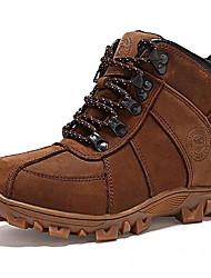 Unisex-Tacón Plano-Cowboy Botas de Nieve-Botas-Exterior Informal-Cuero de Napa-Negro Marrón