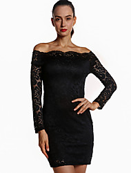 Women's Party/Cocktail Sexy / Simple Bodycon DressSolid Boat Neck Above Knee Long Sleeve Summer / Fall High Rise