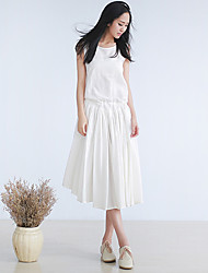 Ramie Cotton Women's Casual/Daily Simple Loose DressSolid Round Neck Knee-length Sleeveless