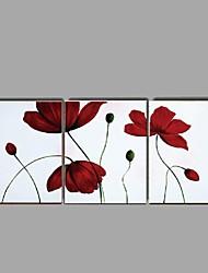 Ручная роспись Натюрморт / Цветочные мотивы/ботанический Картины маслом,Modern / Пастораль 3 панели Холст Hang-роспись маслом For
