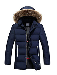 Men's Regular Padded Coat,Simple Casual/Daily Solid-Polyester Polyester Long Sleeve Blue / Black / Green