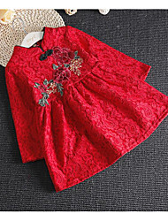 Girl's Holiday Floral DressPolyester Spring / Fall Red