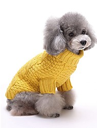 Cat Dog Sweater Dog Clothes Winter Spring/Fall Stripe Casual/Daily Keep Warm Yellow Red