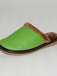M.livelihood.H  Women's Slippers & Flip-Flops Winter Slingback Cowhide Casual Flat Heel Others Green Others-YQ201604