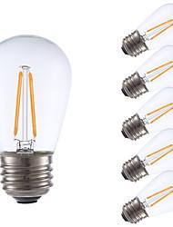 2W E26/E27 Ampoules à Filament LED S14 2 COB 200 lm Blanc Chaud Gradable V 6 pièces