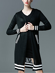 Women's Casual/Daily Simple Long CardiganLetter  Cowl Long Sleeve Polyester Fall / Winter Medium Micro-elastic