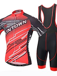 Xintown Men's Breathable Printing Cycling Short Sleeve Jersey and 3D Padded Shorts Set Red