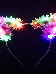 Rainbow Flash Led Light Up Floral Cat Ears With White DaisyFlower Kitty EarsAriana GrandeEdcRaveMeow