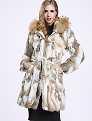 BF-Fur Style Women's Casual/Daily Sophisticated Fur CoatSolid Hooded Long Sleeve White Wool / Rabbit Fur