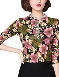 Tee-shirt Femme,Fleur Décontracté / Quotidien Vintage Automne Manches Longues Asymétrique Rose Polyester Moyen