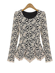 Women's Lace Casual/Daily Sophisticated Fall / Winter T-shirt,Solid Round Neck Long Sleeve White / Black Polyester Opaque