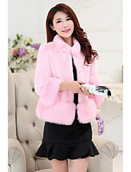 Star with new winter coat ladies Haining Leather grass short coat fox fur collar