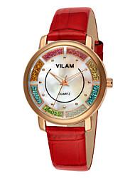 VILAM® Women's Fashion Leather Strap watch Imitation Diamond band Casual Famous waterproof diamond quartz wrist watches