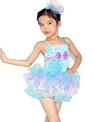 Robes Enfant Spectacle Elasthanne Polyester Paillété Tulle Volants Nœud papillon Robe pan volant Sans manche Taille moyenne Robe Coiffures