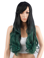 Long Wavy Hair Black and Green Color Synthetic Wigs for Women