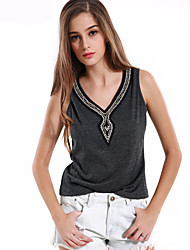 1287 Women's Going out / Casual/Daily Vintage Summer / Fall T-shirtSolid V Neck Sleeveless Gray Cotton
