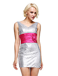 Cocktail Party Dress Sheath / Column V-neck Short / Mini Sequined with Flower(s) / Sash / Ribbon / Side Draping