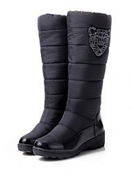 Для женщин Ботинки Полиуретан Весна Осень Зима Повседневный Шнуровка На толстом каблуке Черный Синий Менее 2,5 см