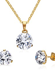 Women's Jewelry set Jewelry Halloween/Wedding/Party/Daily/Casual Stainless Steel Cubic Zirconia Golden 1pc Gift