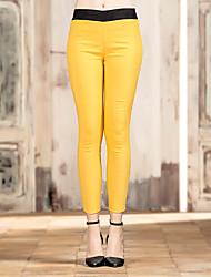 Pantalon Aux femmes Slim simple Rayonne / Polyester / Nylon / Spandex Micro-élastique
