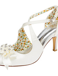 Women's Heels Spring / Fall Others Stretch Satin Wedding / Party & Evening / Dress Stiletto Heel Crystal / Pearl Ivory / White Others