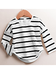 Unisex Casual/Daily Striped Tee,Cotton Fall Long
