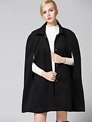 Feminino Casaco Casual Vintage / Simples Primavera / Inverno,Sólido Preto Poliéster Colarinho de Camisa-Manga Longa