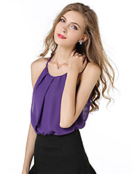 Women's Party/Cocktail Sexy Summer Blouse,Solid Halter Sleeveless White / Black / Purple Polyester Translucent